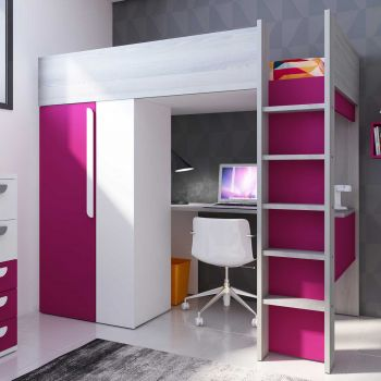 BO9 High Sleeper bed 200 cm Fuchsia