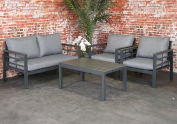 Forza aluminium loungeset Anthracite polywood