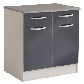 Unterteil Löffel 80 cm mit 2 Schubladen und 2 Türen - glänzend grau