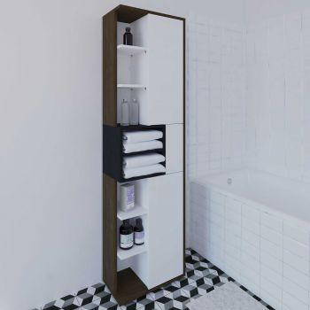 Säulenschrank Kube - Nussbaum/Grau
