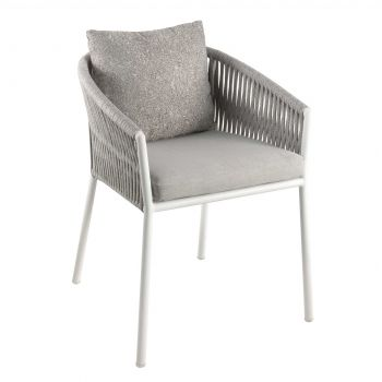 Gabon dining chair alu white rope light grey + c