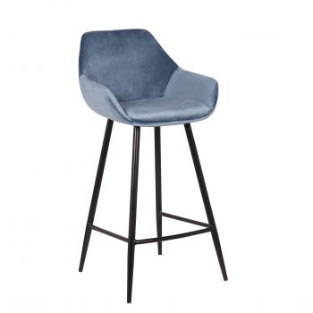 Barhocker 'Damaskus' Samt Blau (H-Sitz 65cm) - 2er Set