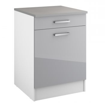 Unterschrank Eli 60 cm mit Schublade und Tür - grau
