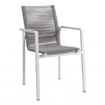 Aruba stacking chair alu white rope grey light