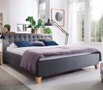 Gestoffeerd bed Lucca - 140x200 cm - Grijs