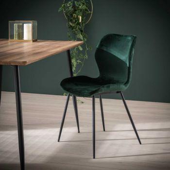Stuhl Samt Rundrohr - Set von 4 - Grün velvet