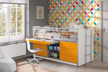 Halbhochbett mit Schreibtisch Bonny 95 - orange