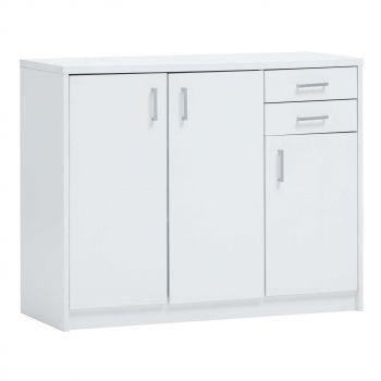 Kommode Spacio 3 Türen & 2 Schubladen H 84cm - weiß
