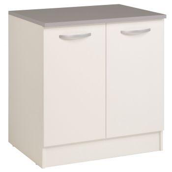Unterschrank Eko 80 cm für Spüle mit 2 Türen - weiß