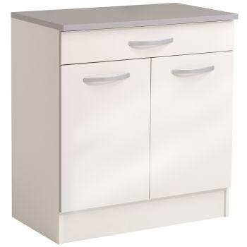 Unterteil Löffel 80 cm mit 1 Schublade und 2 Türen - glänzend weiß