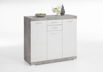 Sideboard Cristal 3 Türen 2 Schubladen hoch - Beton/Weiß