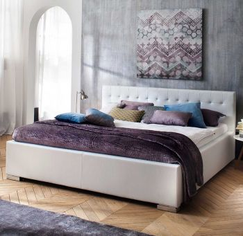 Gedempt bed Sandra Comfort - 200x200 cm - Wit