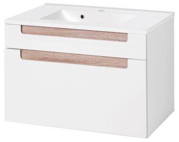 Siena 80cm Waschtischunterschrank - weiß/braun