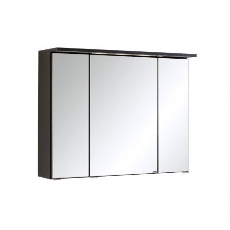 Spiegelschrank Bobbi 80cm Modell 1 3 Türen und LED-Beleuchtung - graphit