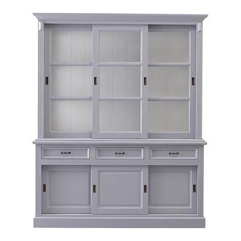 Buffetschrank Provence - 180 cm - grau / weiß