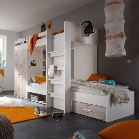 Etagenbett Lopes 90x200cm mit Kleiderschrank - Sandeiche/Weiß