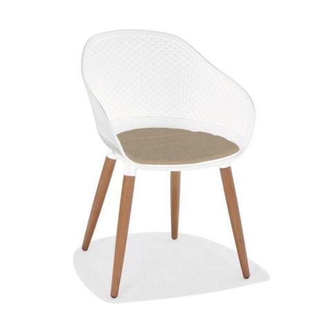 Kopenhagen design chair synthetic white + teak leg