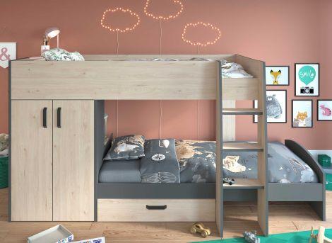 Etagenbett Stim mit Kleiderschrank und Schublade - Eiche/Grau
