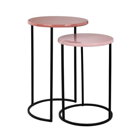 2er-Set Beistelltische Yorke - rosa/schwarz