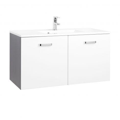 Waschtischunterschrank Bobbi 100cm mit 2 Türen und Keramikwaschbecken - graphit/hochglanz-weiß