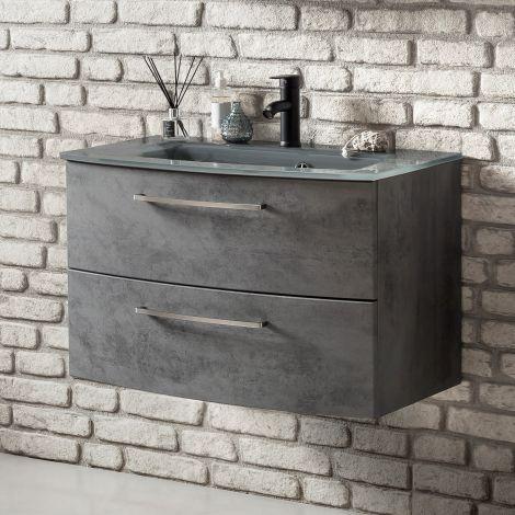 Waschbeckenschrank Stivan 80cm grau Waschbecken - Beton