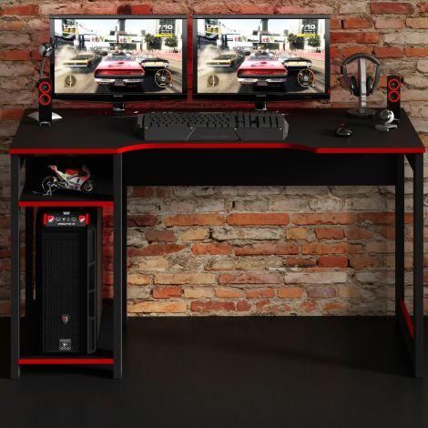 Gaming-Schreibtisch Vanos 136cm - schwarz/rot