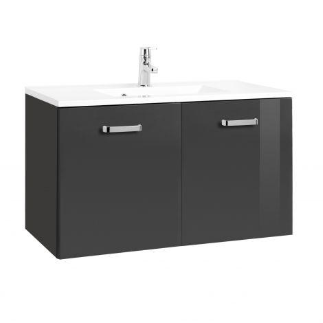 Waschbeckenschrank Bobbi 90cm 2-türig - graphit/hochglanz-grau