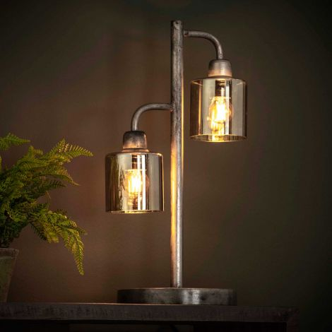 Tischlampe Pearl 2 Lampen - Altsilber