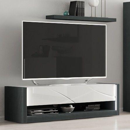 TV-Möbel Eloa 150cm - Hochglanz weiß/schwarz