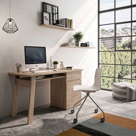 Schreibtisch Melissa 136cm mit 1 Schublade und 1 Tür - Eiche Kronberg hell