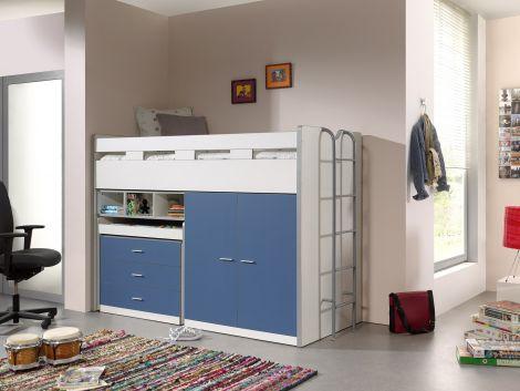 Halbholzschwelle Bonny 70 mit Schreibtisch, Kommode und Schrank - blau