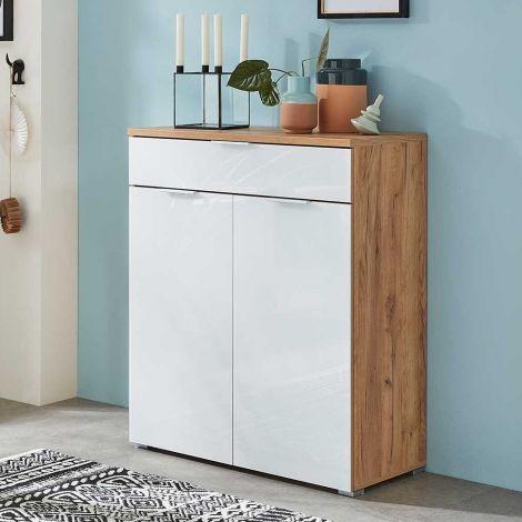 Tille Kommode 89cm mit 2 Türen und 1 Schublade - weiß/Eiche