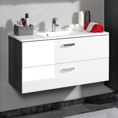 Waschtischunterschrank Bobbi 100cm mit 2 Schubladen und Keramikwaschbecken - graphit/hochglanz-weiß