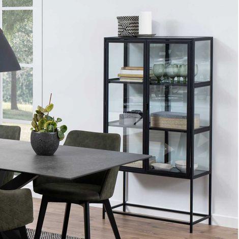 Seaford glass cabinet - black, matt black