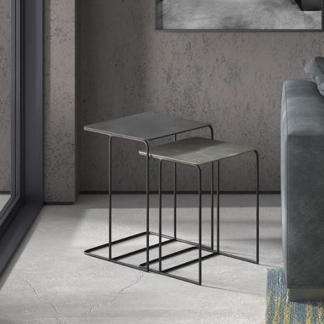 2er-Set Beistelltische Ophelia - schwarz/grau Metall