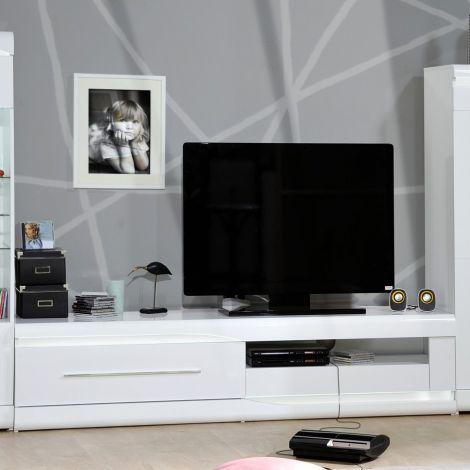 Ovar 200cm Fernsehmöbel - Hochglanz weiß