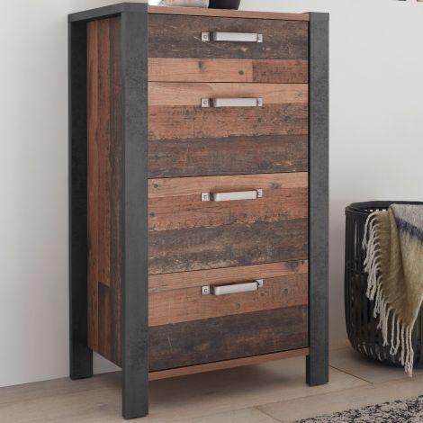 Kommode Hamsik 60cm mit 4 Schubladen - alter Stil/Beton