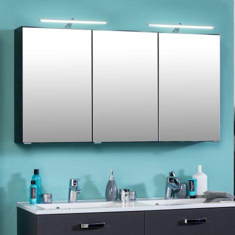 Spiegelschrank Bobbi 120cm Modell 2 3 Türen und led Beleuchtung - graphit