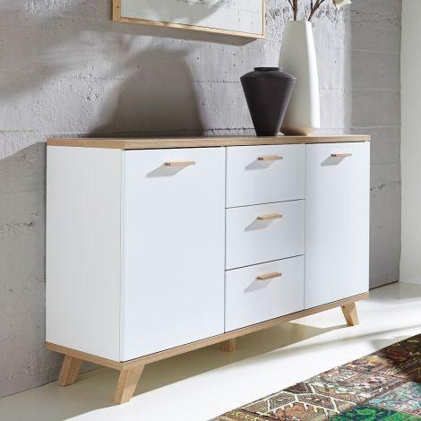Sideboard Ousmane 144cm mit 2 Türen und 3 Schubladen - weiß/Eiche