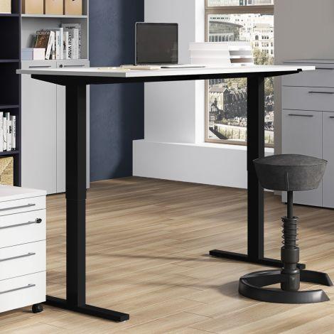 Steh-Sitz-Schreibtisch Osmond 160cm elektrisch verstellbar - hellgrau/schwarz