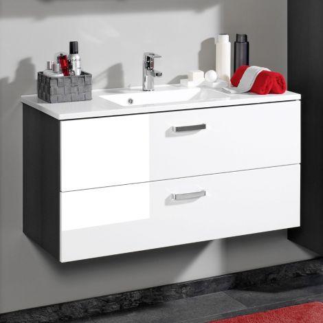 Waschtischunterschrank Bobbi 90cm 2 Schubladen - graphit/hochglanz-weiß
