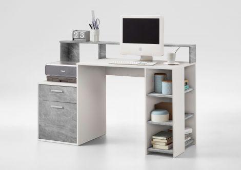 Schreibtisch Elton 139cm - Beton/Weiß