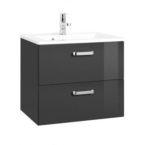 Waschtischunterschrank Bobbi 60cm 2 Schubladen - graphit/hochglanz-grau