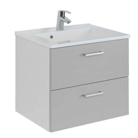 Waschtischunterschrank Ricca 60cm 2 Schubladen - weiß/hellgrau