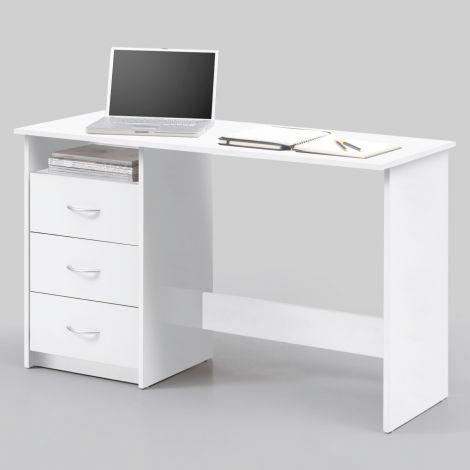 Schreibtisch Adriano 123cm mit 3 Schubladen - weiß