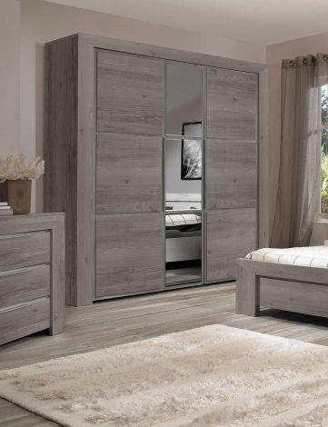 Kleiderschrank Raltas 222cm mit 3 Türen und Spiegel - Kastanie
