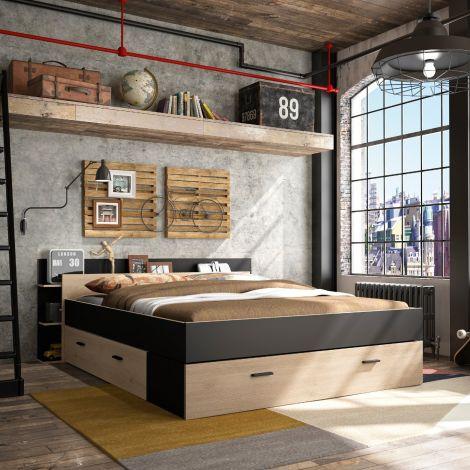 Bett mit Stauraum Eveline 160x200 - schwarz/kastanienholz