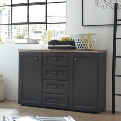 Norah Kommode 122cm mit 2 Türen und 4 Schubladen - grau/braun