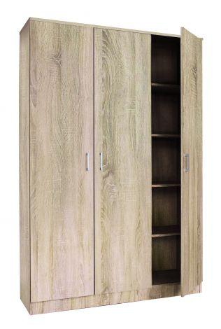Schrank Ray 120cm mit 3 Türen und 4 Einlegeböden - sonoma Eiche