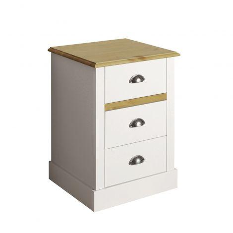 Nachttisch Silia mit 3 Schubladen - weiß/natürlich